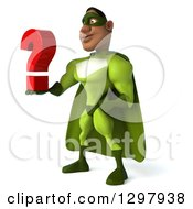 Clipart Of A 3d Buff Male Black Super Hero In Green Facing Left And Holding A Question Mark Royalty Free Illustration by Julos