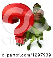 Clipart Of A 3d Buff Male Black Super Hero In Green Thinking And Holding Up A Question Mark Royalty Free Illustration by Julos