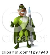 Clipart Of A 3d Buff Male Black Super Hero In Green Giving A Thumb Up And Holding A Giant Syringe Royalty Free Illustration
