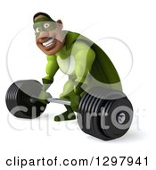 Clipart Of A 3d Buff Male Black Super Hero In Green Facing Slightly Left And Lifting A Heavy Barbell Royalty Free Illustration by Julos