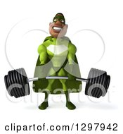 Clipart Of A 3d Buff Male Black Super Hero In Green Lifting A Heavy Barbell Royalty Free Illustration by Julos