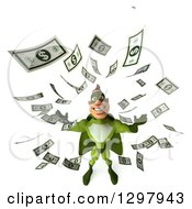 Clipart Of A 3d White Super Hero Man In A Green Costume Looking Up In Raining Money Royalty Free Illustration by Julos