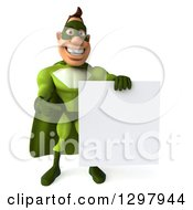 Clipart Of A 3d Super Hero Man In A Green Costume Holding And Pointing To A Blank Sign Royalty Free Illustration by Julos