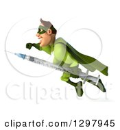 Clipart Of A 3d Super Hero Man In A Green Costume Flying To The Left With A Vaccine Syringe Royalty Free Illustration by Julos