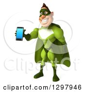 Clipart Of A 3d White Super Hero Man In A Green Costume Holding Out A Smart Cell Phone Royalty Free Illustration by Julos