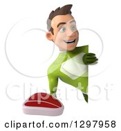 Clipart Of A 3d Young Brunette White Male Super Hero In A Green Suit Holding A Beef Steak Around A Sign Royalty Free Illustration