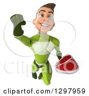 Clipart Of A 3d Young Brunette White Male Super Hero In A Green Suit Flying And Holding A Beef Steak Royalty Free Illustration