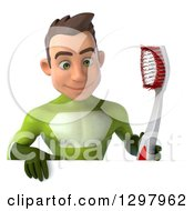 Clipart Of A 3d Young Brunette White Male Super Hero In A Green Suit Holding A Giant Toothbrush Over A Sign Royalty Free Illustration