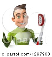 Clipart Of A 3d Young Brunette White Male Super Hero In A Green Suit Holding A Thumb Up And Giant Toothbrush Over A Sign Royalty Free Illustration