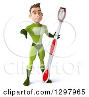 Clipart Of A 3d Young Brunette White Male Super Hero In A Green Suit Giving A Thumb Down And Holding A Giant Toothbrush Royalty Free Illustration