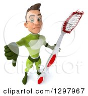 Clipart Of A 3d Young Brunette White Male Super Hero In A Green Suit Holding Up A Thumb Down And A Giant Toothbrush Royalty Free Illustration