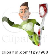 Clipart Of A 3d Young Brunette White Male Super Hero In A Green Suit Flying With A Giant Toothbrush Royalty Free Illustration