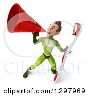 Clipart Of A 3d Young Brunette White Male Super Hero In A Green Suit Holding A Giant Toothbrush And Announcing With A Megaphone Royalty Free Illustration