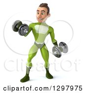 Clipart Of A 3d Young Brunette White Male Super Hero In A Green Suit Doing Bicep Curls And Working Out With Dumbbells Royalty Free Illustration