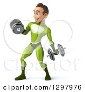 Clipart Of A 3d Young Brunette White Male Super Hero In A Green Suit Facing Slightly Left Doing Bicep Curls And Working Out With Dumbbells Royalty Free Illustration