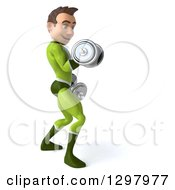 Clipart Of A 3d Young Brunette White Male Super Hero In A Green Suit Facing Right Doing Bicep Curls And Working Out With Dumbbells Royalty Free Illustration