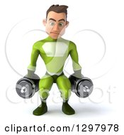 Clipart Of A 3d Young Brunette White Male Super Hero In A Green Suit Doing Squats And Working Out With Dumbbells Royalty Free Illustration