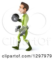 Clipart Of A 3d Young Brunette White Male Super Hero In A Green Suit Walking To The Left And Working Out With Dumbbells Royalty Free Illustration