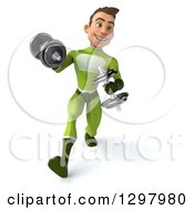 Clipart Of A 3d Young Brunette White Male Super Hero In A Green Suit Walking And Working Out With Dumbbells Royalty Free Illustration