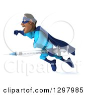 Clipart Of A 3d Buff Black Super Hero Man In A Blue Costume Facing Left Adn Flying With A Vaccine Syringe Royalty Free Illustration