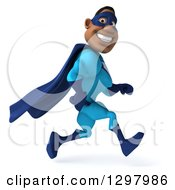Clipart Of A 3d Buff Black Super Hero Man In A Blue Costume Smiling And Running To The Right Royalty Free Illustration by Julos