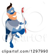 Clipart Of A Cartoon Caucasian Blue Male Super Hero Facing Right Giving A Thumb Up And Holding A Toothbrush Royalty Free Illustration