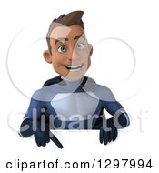 Clipart Of A 3d Young Indian Male Super Hero Dark Blue Suit Pointing Down Over A Sign Royalty Free Illustration