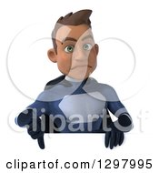 Clipart Of A 3d Young Indian Male Super Hero Dark Blue Suit Giving A Thumb Down Over A Sign Royalty Free Illustration