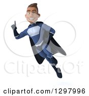 Clipart Of A 3d Young Indian Male Super Hero Dark Blue Suit Holding Up A Finger And Flying Royalty Free Illustration