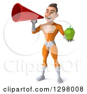 Clipart Of A 3d Young Brunette White Male Super Hero In An Orange Suit Holding A Green Bell Pepper And Announcing With A Megaphone Royalty Free Illustration
