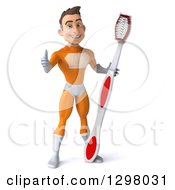 Clipart Of A 3d Young Brunette White Male Super Hero Dentist In An Orange Suit Giving A Thumb Up And Holding A Giant Toothbrush Royalty Free Illustration