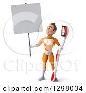 Clipart Of A 3d Young Brunette White Male Super Hero Dentist In An Orange Suit Looking Up At And Holding A Blank Sign And A Giant Toothbrush Royalty Free Illustration