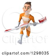 Clipart Of A 3d Young Brunette White Male Super Hero Dentist In An Orange Suit Sprinting With A Giant Toothbrush Royalty Free Illustration