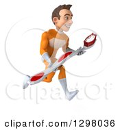Clipart Of A 3d Young Brunette White Male Super Hero Dentist In An Orange Suit Sprinting To The Right With A Giant Toothbrush Royalty Free Illustration