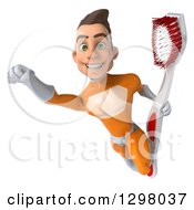 Clipart Of A 3d Young Brunette White Male Super Hero Dentist In An Orange Suit Flying With A Giant Toothbrush Royalty Free Illustration