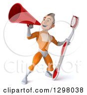 Clipart Of A 3d Young Brunette White Male Super Hero Dentist In An Orange Suit Announcing With A Megaphone And Holding A Giant Toothbrush Royalty Free Illustration
