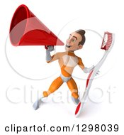 Clipart Of A 3d Young Brunette White Male Super Hero Dentist In An Orange Suit Announcing Upwards With A Megaphone And Holding A Giant Toothbrush Royalty Free Illustration