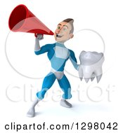 Clipart Of A 3d Young Brunette White Male Super Hero In A Blue Suit Announcing With A Megaphone And Holding A Tooth Royalty Free Illustration by Julos
