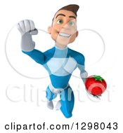 Clipart Of A 3d Young Brunette White Male Super Hero In A Blue Suit Flying With A Tomato Royalty Free Illustration by Julos