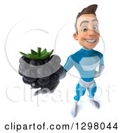 Clipart Of A 3d Young Brunette White Male Super Hero In A Blue Suit Holding Up A Blackberry Royalty Free Illustration by Julos