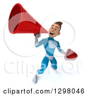 Clipart Of A 3d Young Brunette White Male Super Hero In A Blue Suit Holding A Beef Steak And Announcing Upwards With A Megaphone Royalty Free Illustration by Julos