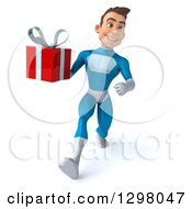 Clipart Of A 3d Young Brunette White Male Super Hero In A Blue Suit Walking With A Gift Royalty Free Illustration by Julos