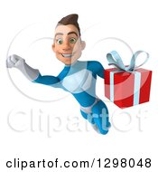 Clipart Of A 3d Young Brunette White Male Super Hero In A Blue Suit Flying With A Gift Royalty Free Illustration by Julos