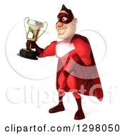 Clipart Of A 3d Caucasian Red Super Hero Man Facing Left And Holding Out A Trophy Royalty Free Illustration by Julos
