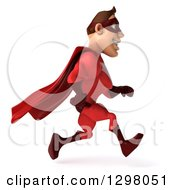 Clipart Of A 3d Caucasian Red Super Hero Man Running To The Right Royalty Free Illustration by Julos