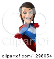 Clipart Of A 3d Young Brunette White Female Super Hero In A Blue And Red Suit Pointing Outwards Around A Sign Royalty Free Illustration