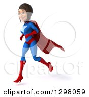 Clipart Of A 3d Young Brunette White Female Super Hero Running To The Left In A Blue And Red Suit Royalty Free Illustration by Julos