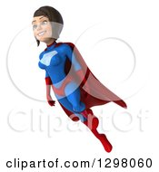 Clipart Of A 3d Young Brunette White Female Super Hero In A Blue And Red Suit Facing Slightly Left And Flying Royalty Free Illustration by Julos