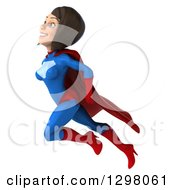 Clipart Of A 3d Young Brunette White Female Super Hero In A Blue And Red Suit Facing Left And Flying Upwards Royalty Free Illustration by Julos
