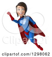 Clipart Of A 3d Young Brunette White Female Super Hero In A Blue And Red Suit Smiling Facing Slightly Left And Flying Royalty Free Illustration by Julos